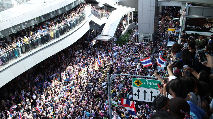 High angle view of crowd in shopping mall