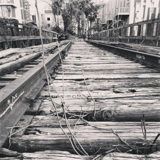 Railroad tracks left at the freshly opened Shoal Creek Trail Caesar Chavez entrance. ATx