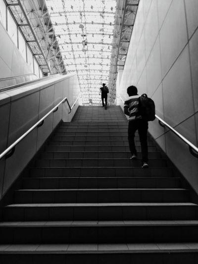 People walking on staircase