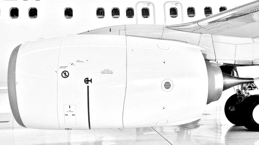 Cropped image of airplane in hangar