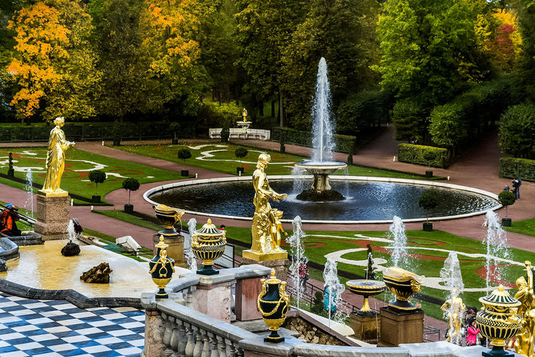 View of fountain in park