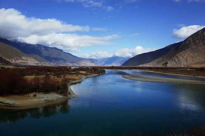Landscape River Cloudy Sky