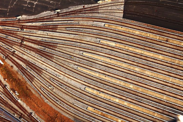 Aerial view of railway tracks