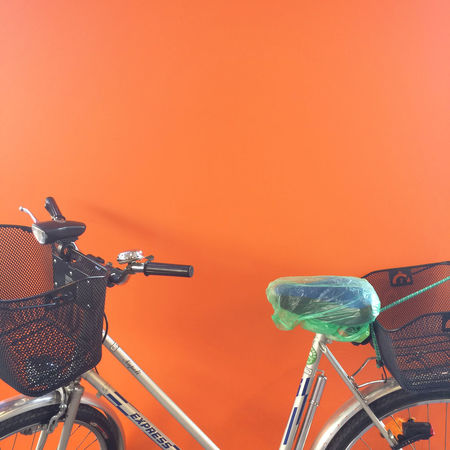 Load Transport Waiting Background Bicycle Bicycle Basket Close-up Color Contrast Day Land Vehicle Minimal Mode Of Transport No People Orange Color Outdoors Stationary Technology Transportation