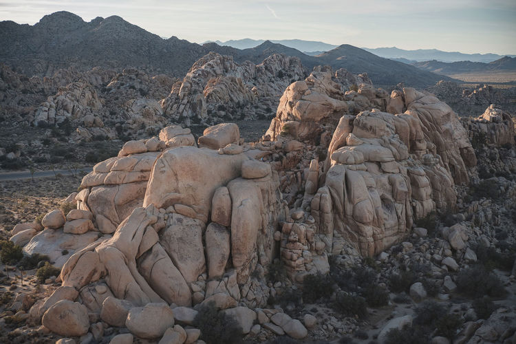 Rock Mountain Solid Beauty In Nature Scenics - Nature Tranquil Scene Rock Formation Nature No People Tranquility Non-urban Scene Mountain Range Day Environment Land Landscape Sky Physical Geography Geology Outdoors Climate Arid Climate Formation Eroded Joshua Tree National Park