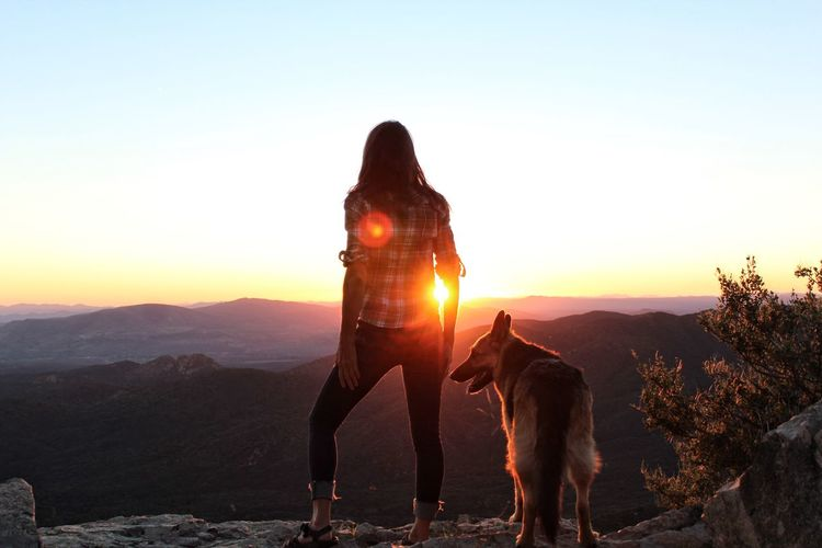 A woman and her dog look out at the sunset in the mountains Beauty In Nature Best Friends Brunette Dog German Shepherd Hiking Idyllic Landscape Lifestyles Long Hair Mountain Mountain Range Nature One Person Peaceful Pets Real People Rear View Scenics Serene Silhouette Sky Sunlight Sunset Walking