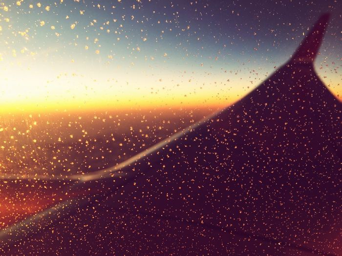 Plane Window Seat Wing Sunset Rain Spreckles Gradient Travel Tourism Above The Clouds