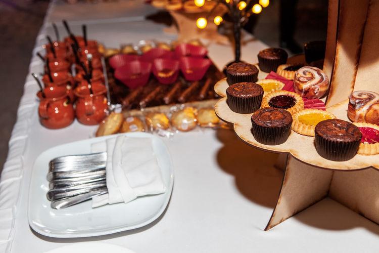 High angle view of sweet food on table