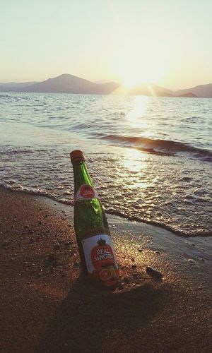 Greece Summer Sea Beach Sunset Sunset_collection Sunsetporn Bottle Wine Relaxing #live_your_myth