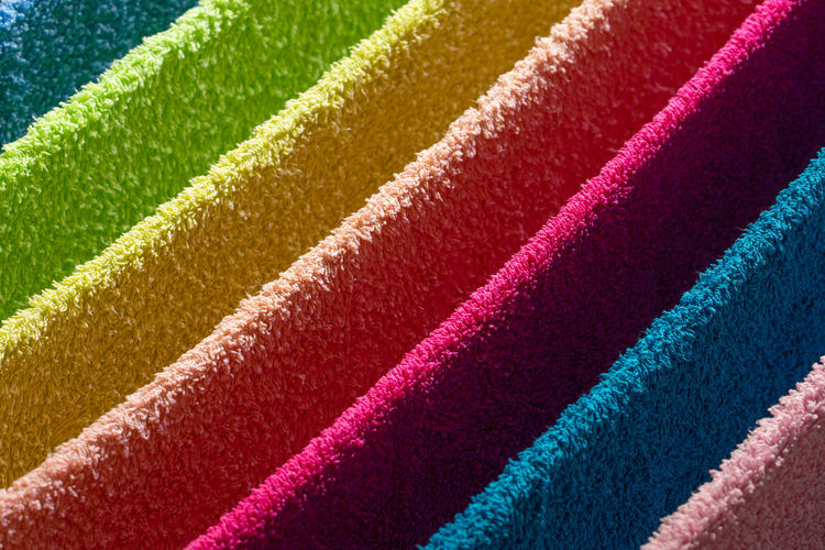 Full frame shot of multi colored towels hanging outdoors