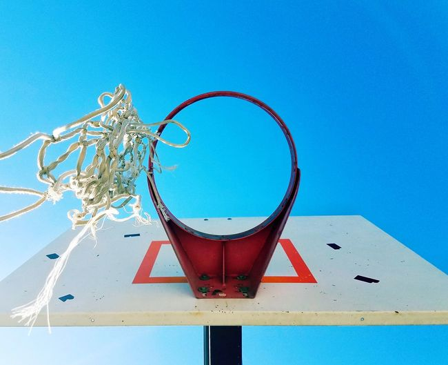 Destruction Old New Life Basketball Hoop Net Hanging By A Thread Clear Sky No People Day Low Angle View Sport Sky Outdoors Close-up Sports Looking Up Circle Square Samsung Photography Spotted