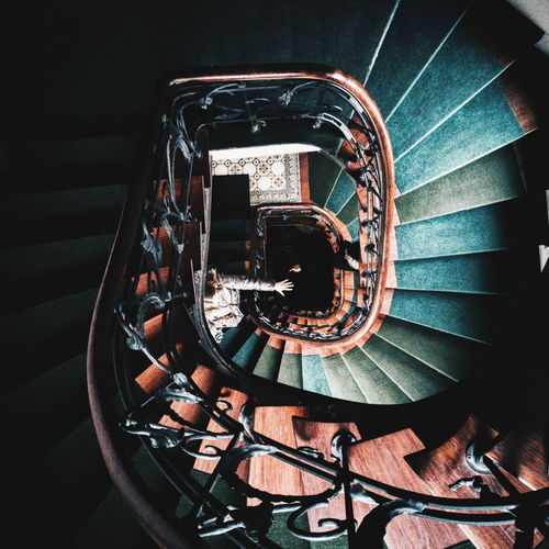 Directly above view of spiral staircase