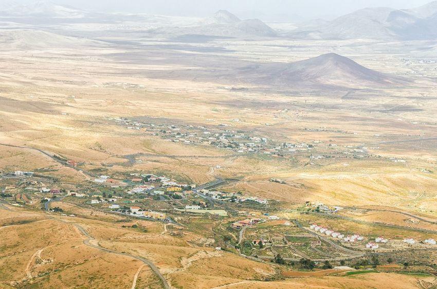 Fuerteventura El Mirador View From Above Viewpoint Arid Landscape
