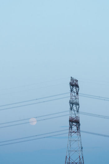 Architecture Blue Built Structure Cable Clear Sky Communication Connection Day Electrical Equipment Electricity  Electricity Pylon Fuel And Power Generation Low Angle View Nature No People Outdoors Power Line  Power Supply Sky Tall - High Technology EyeEmNewHere