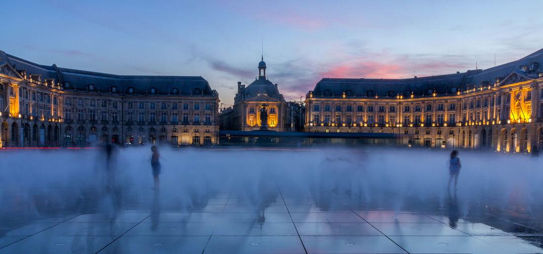 Place De La Bourse Against Sky At Dusk
