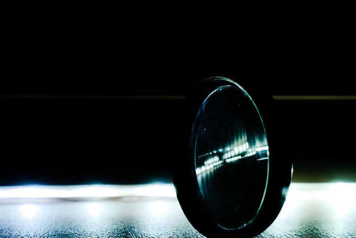 Macro Filter Lens Closeup Photography Blue Green Reflection Beautiful Focus Lightstrip Glass Fragile Darkness Night No People Close-up