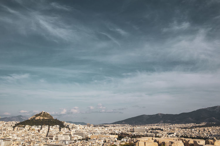 Acropolis Athens Greece Athens, Greece Acropolis Architecture Building Exterior Built Structure Cloud - Sky Sky Building Residential District City Mountain Nature No People History The Past Town Day Travel Destinations Cityscape Outdoors Beauty In Nature TOWNSCAPE Ruined Ominous