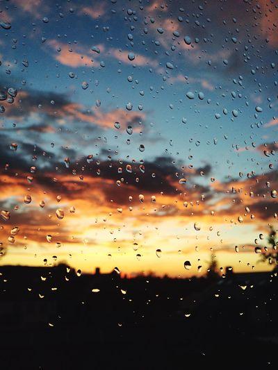 Rain Window Raindrops Raindrops On My Window Sunset Colorful Sky Rainy Days Myview Clouds Blue Orange Color Beautiful Day Close-up