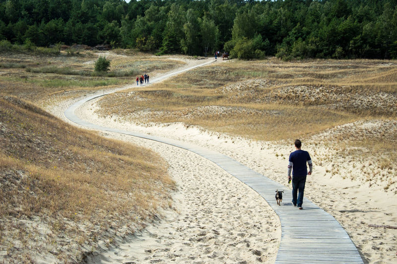 Real People Men One Person Walking Day Outdoors Nature Sand Landscape Only Men People Adult Travel Destinations Travel Leisure Activity Tranquility Tranquil Scene Lithuania Neringa Scenics Beauty In Nature Nature Vacations Forest Full Length