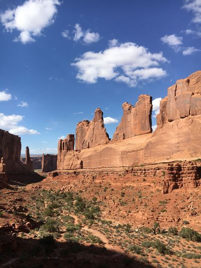 Arches National Park, Utah Utah EyeEm Selects Sky History Rock - Object Cloud - Sky Travel Destinations Day No People Nature Ancient Low Angle View Built Structure Outdoors Ancient Civilization Architecture Sunlight Building Exterior Beauty In Nature