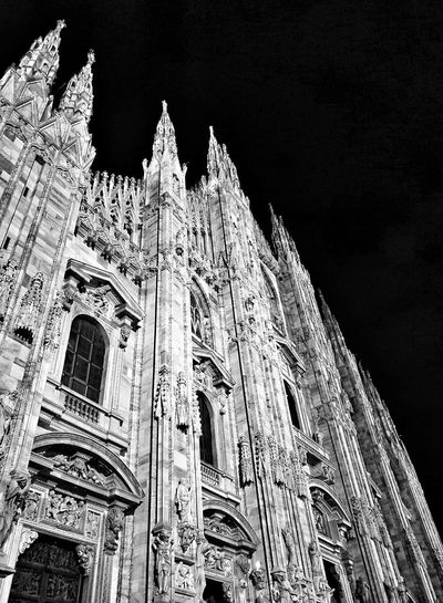 Gothic Style Milano Italy Cathedral Marble Night City Sky Close-up Architecture Built Structure