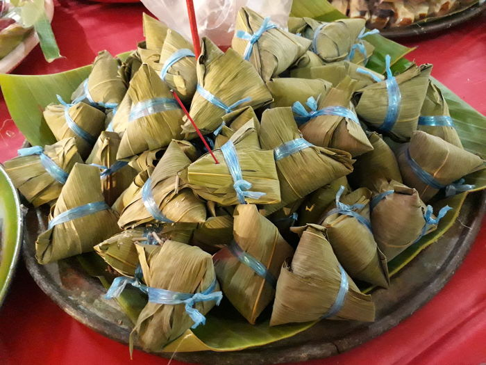 Bacang cake Delicious Rice Leafs Isolated Food Cake Culture Traditional Chinese ASIA Temple Nature Plate High Angle View Close-up Food And Drink