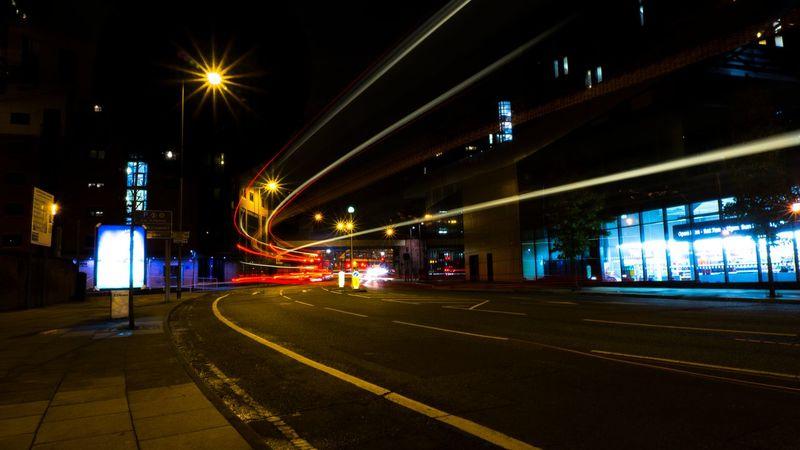 light travel Light Trails Nightphotography Nighttime Building Exterior High Street Illuminated Light Trail Long Exposure Motion Night No People Outdoors Road Speed Transportation