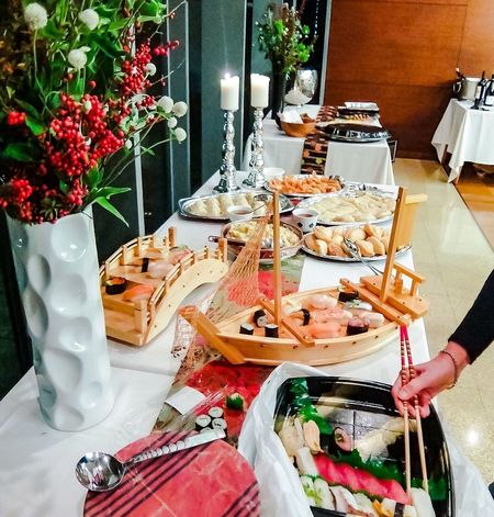 Party preparation Partying Party Time Party Table Food And Drink Food Hand Restaurant Plate Arrangement Flowering Plant Flower Lifestyles High Angle View