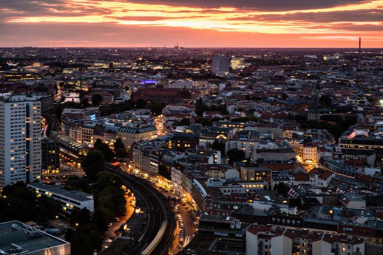 Berlin Citylights Cloud - Sky Evening Golden Hour High Angle View Streets Sunset Urban