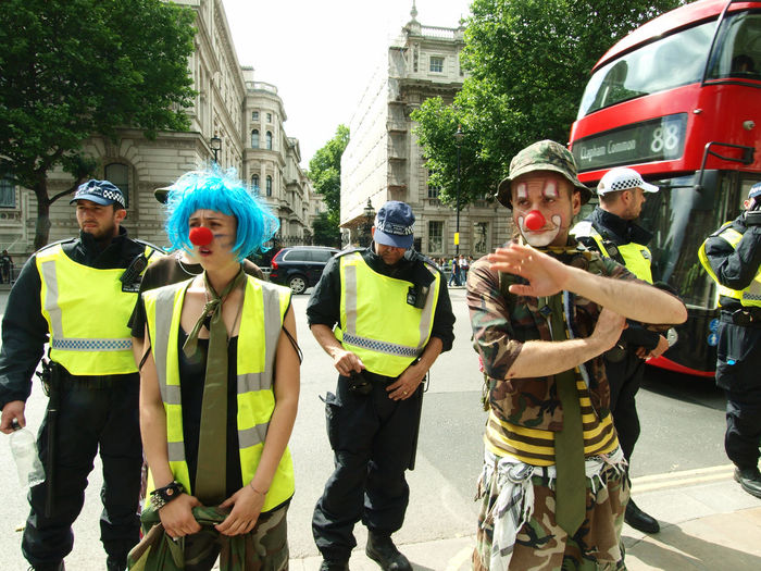 Clowns at the Homes For All Protest, Whitehall, London, 24-06-2017 #homesforall Clowns Clownsec Downing Street Funny London News Metropolitan Police Photojournalism Policing Politics Politics And Government Protest Protesters Protesting Clowns Red Nose Steve Merrick Stevesevilempire