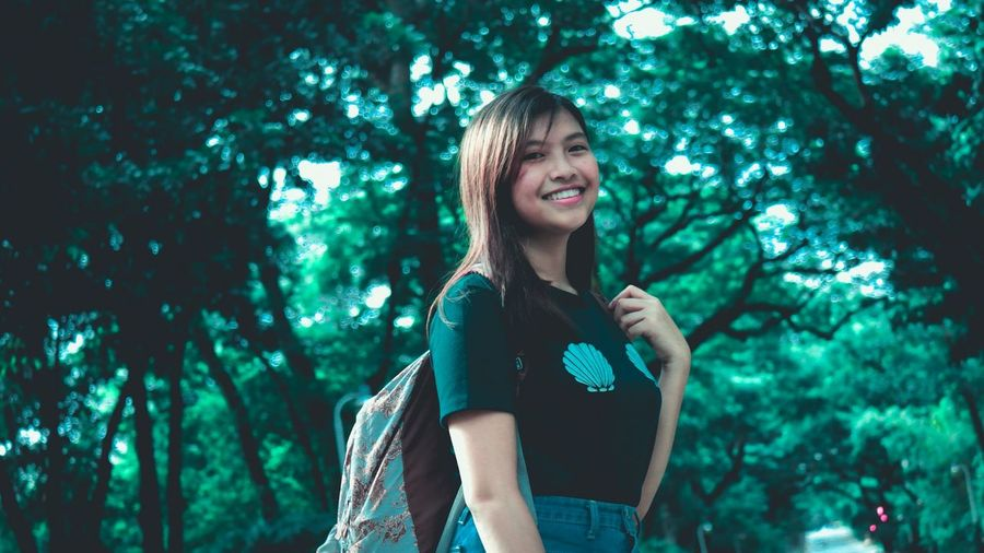 Happiness Only Women Summer One Woman Only Smiling Nature Forest One Person Casual Clothing Women Beauty Cheerful Portrait Young Adult Standing Outdoors Streetphotography EyeEm Gallery Eyeem Philippines EyeEm Masterclass EyeEm Best Shots EyeEm Best Edits The Week On EyeEm