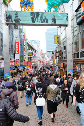 TOKYO, JAPAN - APRIL 10 2017: Takeshita Street(Takeshita Dori) in Harajuku. Takeshita Dori is considered a birthplace of Japan's fashion trends. Harajuku HarajukuCity Japan Japan Photography Japanese  Japanese Style Market Shopping Takeshita Street TakeshitaDori Tokyo Tokyo Street Photography Tokyo,Japan Adult Architecture Building Exterior Built Structure City City Life Crowd Day Harajukustreet Large Group Of People Lifestyles Men Outdoors People Real People Women