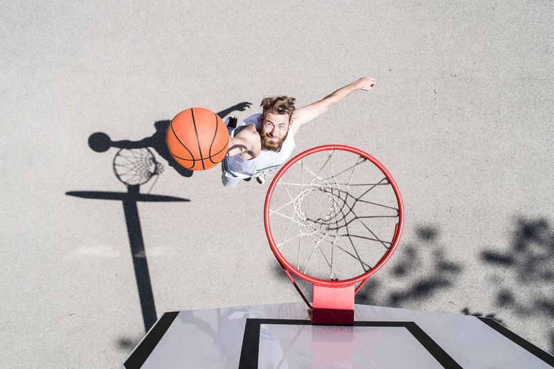 High angle view of basketball hoop