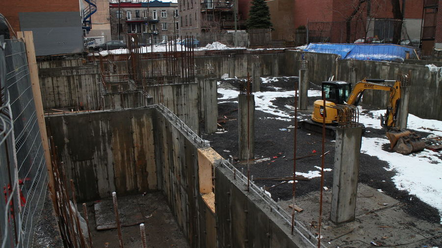 View of construction site in city during winter