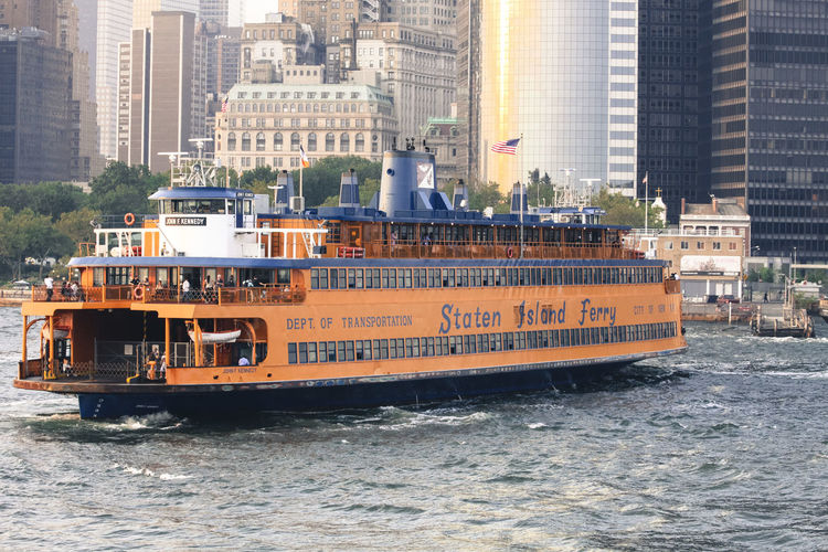 New York Nautical Vessel Building Exterior Water Transportation Architecture Mode Of Transportation Built Structure City Waterfront Sea Day Building Sailing Ship Motion No People Office Building Exterior Nature Travel Passenger Craft Skyscraper Cityscape Cruise Ship