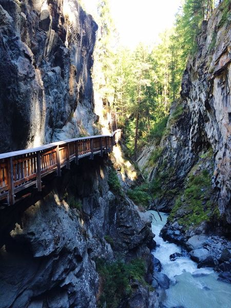 Rock - Object Rock Formation Nature Beauty In Nature Ravine Tree Connection Tranquility Day Water Mountain Canyon Scenics Outdoors Bridge - Man Made Structure No People Gorner Gorge Zermatt Switzerland