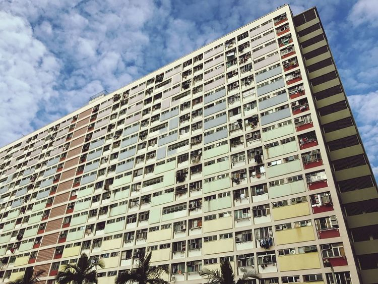 Building Exterior Architecture Built Structure Low Angle View Window Day Outdoors Sky City Sunset HongKong Choi Hung Estate Blue Colour Rainbow Adapted To The City