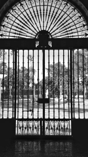 Inside Looking Out Front Door Iron Gate Black & White No People History Travel Destinations Pattern, Texture, Shape And Form Built Structure Architecture Arts Culture And Entertainment Tourism Old Buildings Californiaadventures Hearst Castle Travelphotography Natural Light Old Enjoying Life From My Point Of View
