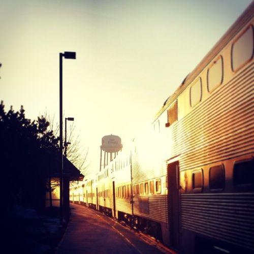 Morning Sunshine , ElmwoodPark Metra train