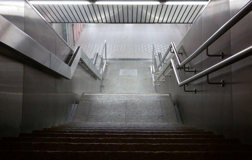Underground Passage Stairs Urban Geometry Architecture Artificial Light Brussels Belgium