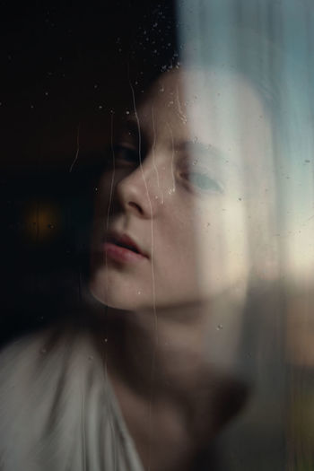 // Glass - Material One Person Headshot Transparent Portrait Young Adult Window Sadness Wet Young Women Indoors  Close-up Women Drop Human Body Part Contemplation Body Part Depression - Sadness Glass Rain Depression Human Face Beautiful Woman Tears Melancholy The Week on EyeEm