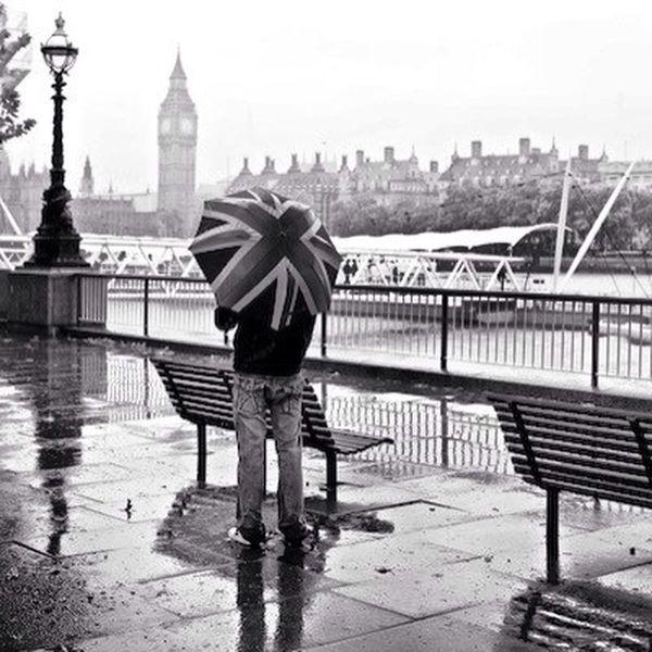 Big Ben As The Rain Falls Umbrella Black And White