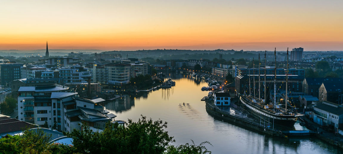 Building Exterior Sunset Sky Architecture Built Structure Water City High Angle View Nature River Residential District Cityscape Orange Color No People Transportation Building Nautical Vessel Outdoors Mode Of Transportation Bristol Harbourside Ss Great Britain Rower Rowing My Best Photo