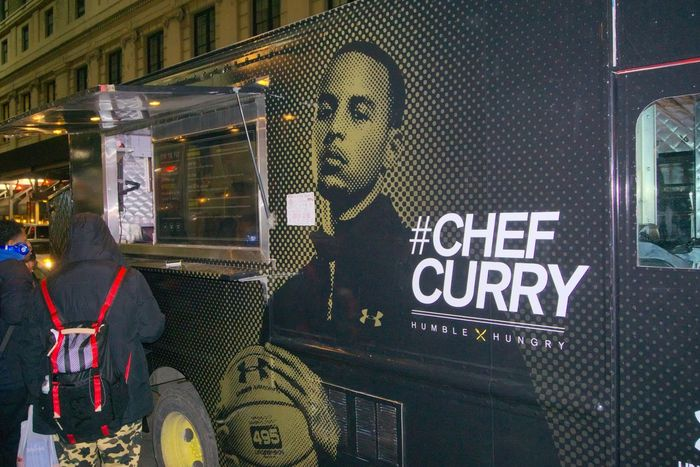A Chef Curry food truck parked and serving free samples of empanadas Chefcurry NBAAllstar Stephen Curry  Food