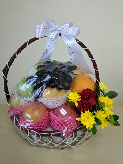 fruit gift basket Fruit Fruit Basket Gift Got Basket Fruit Gift Basket Fruit And Flower Fruit And Flower Basket Sweet Food Chocolate Dessert Celebration Indoors  No People