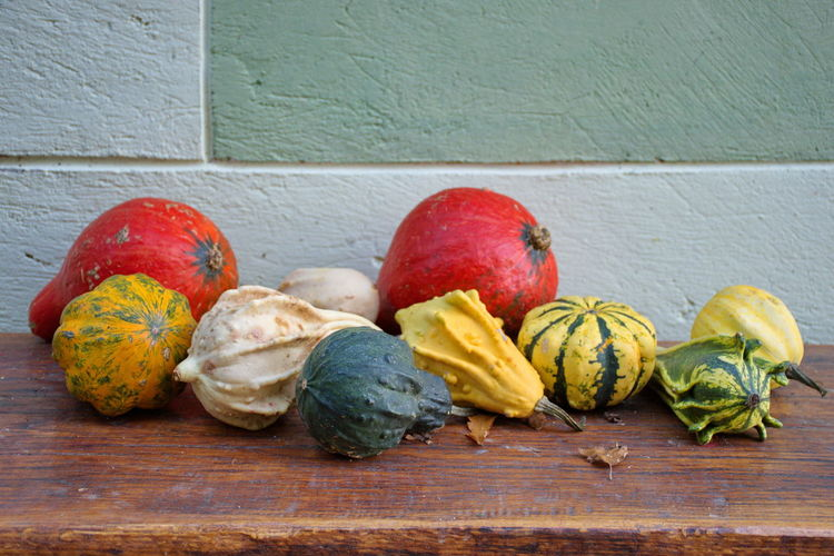 Closeup of colorful pumpkins on the wooden table outside the house