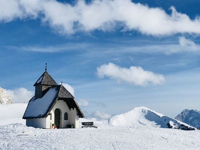 Church Architecture Beauty In Nature Building Building Exterior Built Structure Cabin Cloud - Sky Cold Temperature Day Landscape Mountain Nature No People Outdoors Place Of Worship Religion Scenics - Nature Sky Snow Snowcapped Mountain White Color Winter The Great Outdoors - 2018 EyeEm Awards The Traveler - 2018 EyeEm Awards The Architect - 2018 EyeEm Awards