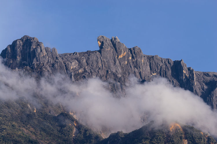 View of mountain Kinabalu in Sabah, Malaysia Beauty In Nature Blue Clear Sky Cliff Day Geology High Up Idyllic Majestic Mountain Mountain Range Nature No People Non-urban Scene Outdoors Physical Geography Remote Rock - Object Rock Formation Rocky Rocky Mountains Scenics Tourism Tranquil Scene Tranquility
