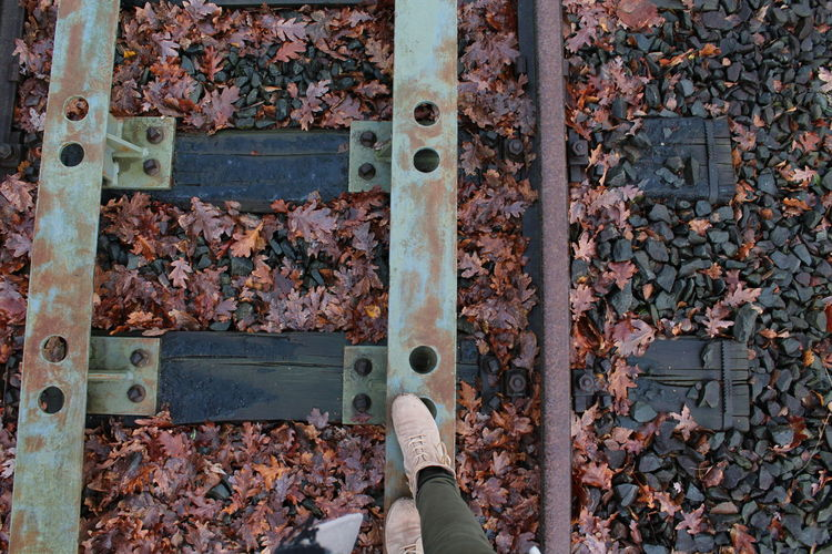 Low Section Of Woman Standing On Metal During Autumn