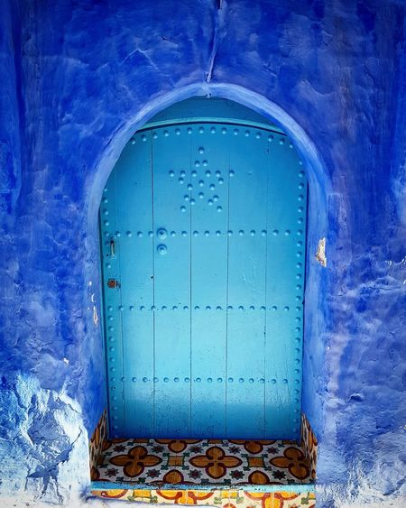 Puerta de Chauen, morocco Hotel Hostal Hostel Guest House Pension Azul Puerta Marruecos Chefchaouen Africa Morocco Chauen Holidays Coran Morocco Star Blue Protection Door Architecture Close-up